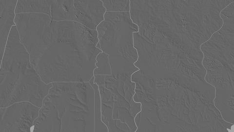 Plateau extruded. Benin. Stereographic bilevel map Animation