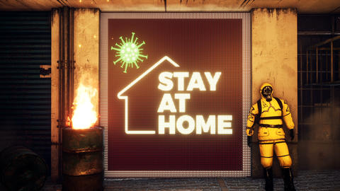 Stop the coronavirus. Stay at home, save lives. STAY AT HOME. Stay at home in self-quarantine mode Animation