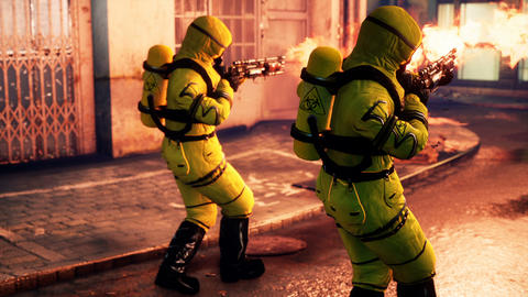 Medics in a bacteriological suit disinfect the street of an infected city with a flamethrower. Men Animation