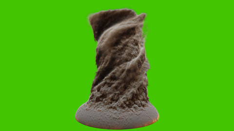 Strong thick brown smoke or realistic sand tornado. VFX animation in front of green screen CG動画
