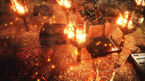 Heaps of bullets, boxes of explosives and grenades. Boxes with weapons and ammunition in a military Animation