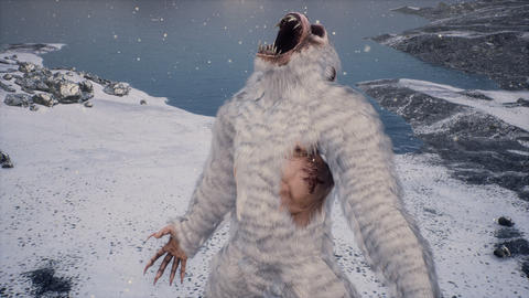 Monster in the snowy mountains on a beautiful fog winter morning. Sasquatch in the mountains Animation