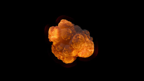 An explosion with thick black smoke, an explosion on an isolated black background with an alpha Animation