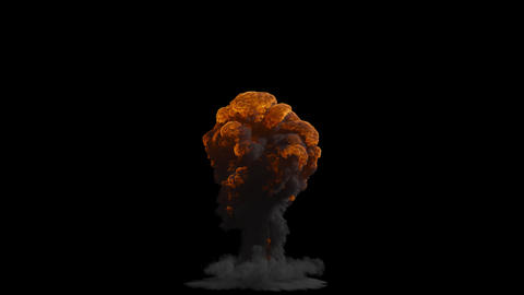 A nuclear explosion with thick black smoke, an explosion on an isolated black background with an CG動画