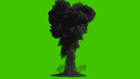 A nuclear explosion with thick black smoke, an explosion on an isolated black background with an Animation