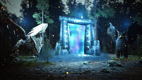 A fantastic luminous ancient portal to another world, guarded by fabulous animals, in a mystical Animation