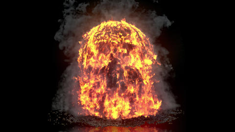 Burning, steaming liquid pours on the human skull. VFX animation with an alpha channel Animation
