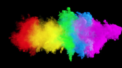 Multicolored colorful rainbow smoke. An explosion of liquid multi-colored ink. VFX animation with an Animation