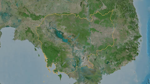 Otdar Mean Chey extruded. Cambodia. Stereographic satellite map Animation