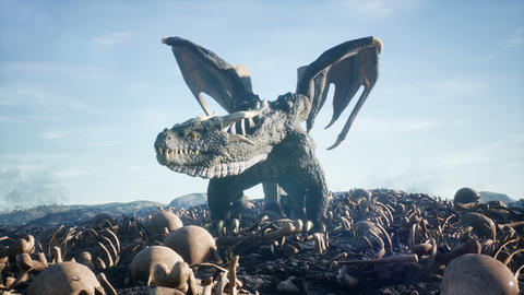 Realistic big dragon lands on scattered human bones. Animation for fabulous, fiction or fantasy Animation