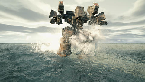A military robot walks on a surface covered with water. The concept of the future Apocalypse Animation