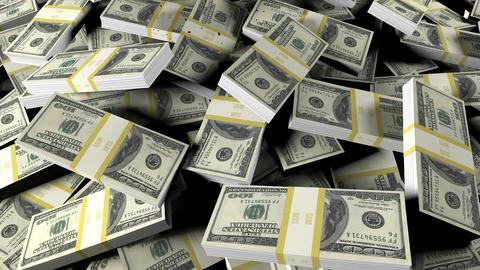 Crude oil floods scattered bundles of hundred-dollar bills. Animation for business, oil, and Animation