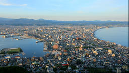 Evening view of Hakodate from Mt. Hakodate in Hokkaido Footage