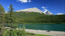 Wapta Lake and mountainscape, Canada Footage