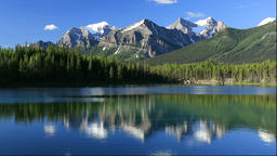 Lake Herbert and the Rocky Mountains in Canada Footage