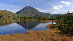 View of Sanno pond and Mount Rausu, Hokkaido, Japan Footage