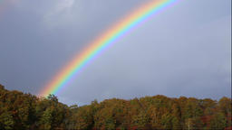 Colorful trees and rainbow over Bandai-Azuma Roadway, Fukushima Prefecture, Japa Footage