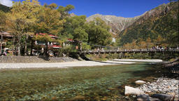 Autumn foliage and the Hotaka mountain range from Kamikochi in Nagano Prefecture Footage