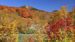 Autumn view of Sukayu hot spring and Hakkoda Mountain, Aomori Prefecture, Japan Footage