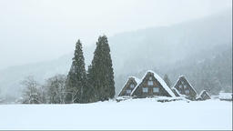 View of the snow covered Shirakawa Village, Gifu Prefecture, Japan Footage