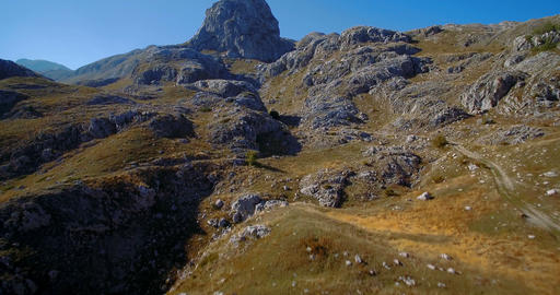 Aerial, Mountainous And Stony Landscape At Kuck Mountains, Montenegro- Graded an Footage