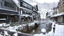Winter at Ginzan Onsen in Yamagata Prefecture Footage