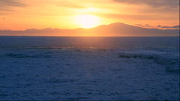 Drifting ice and the sunrise on Shiretoko Peninsula, Hokkaido, Japan Footage