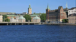 View of Gamla Stan from Stockholm City Hall, Sweden Footage