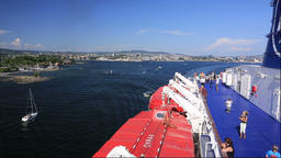 View of Oslo from DFDS seaway ferry, Norway Footage
