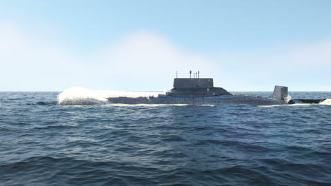 A nuclear-powered military submarine slowly sails on the blue boundless ocean Videos animados