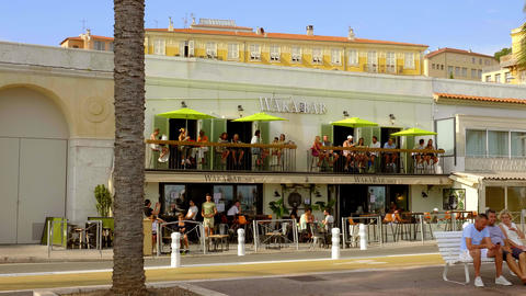 Bar at the Riviera of Nice - CITY OF NICE, FRANCE - JULY 10, 2020 Live Action
