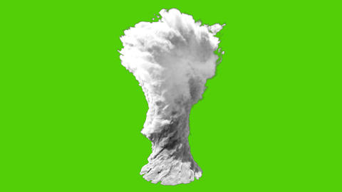 Thick white smoke or realistic tornado. VFX animation in front of green screen CG動画
