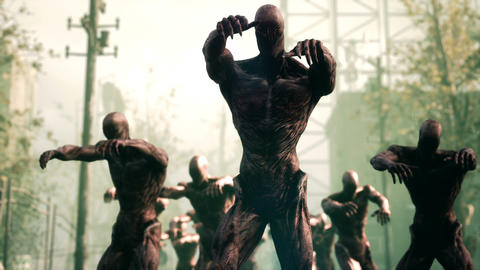Scary zombies are walking through a deserted and abandoned city. The concept of the CG動画