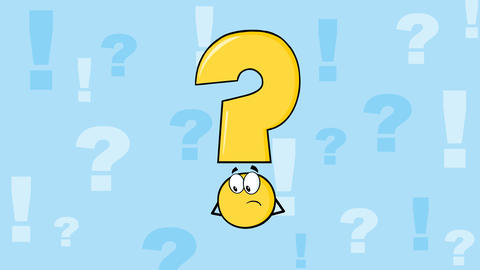 Yellow Question Mark Character Thinking Animation
