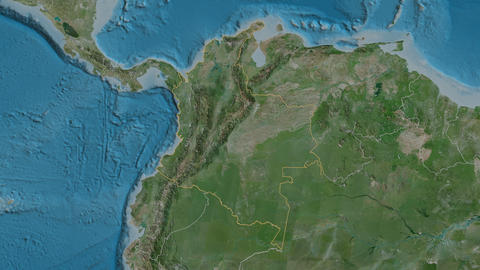 Guaviare extruded. Colombia. Stereographic satellite map Animation