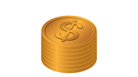 golden dollar coins stacks Animation