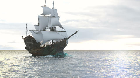 A medieval pirate ship sailing on a vast blue ocean. Concept of sea adventures in the middle ages Videos animados