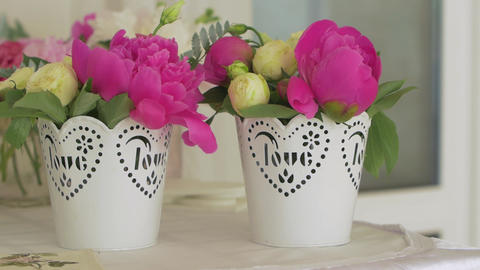 Pink Flowers In Baskets GIF