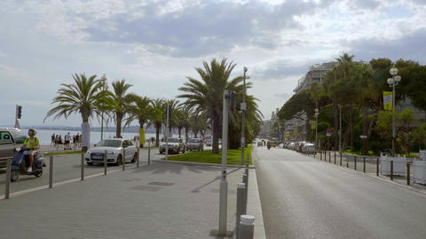 Street view in the city of Nice - CITY OF NICE, FRANCE - JULY 10, 2020 Live Action