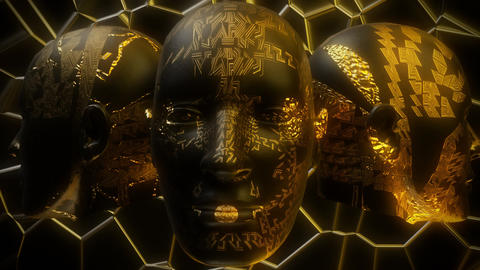 3D Spinning Golden Head/Face Masks Loop Abstract Background CG動画