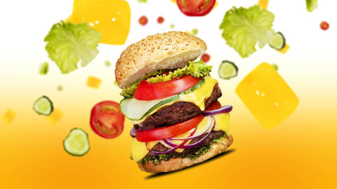 Hamburger with flying Ingredients animation. Fast food menu promo opener Animation