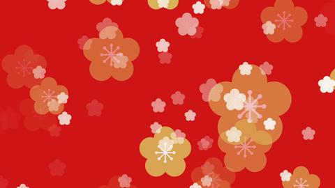 パーティクル 和柄 カラー ループ 梅03 GIF