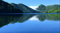 Green colors at Lake Shikaribetsu in Hokkaido Footage