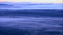 Morning mist over Kushiro Marsh from Kushiro Satellite Observatory in Hokkaido Footage