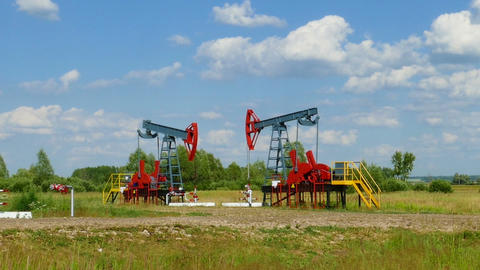 many working oil pumps in a row, panorama Footage