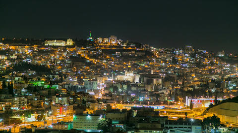 A view of Nazareth, Israel with the basilica of annunciation Footage