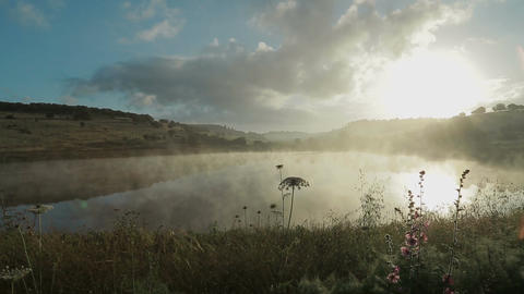 Fog rising from a lake at sunrise Filmmaterial
