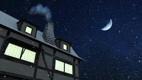 House with smoking chimney at snowfall winter night Animation