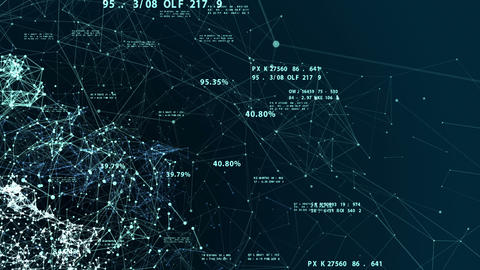Beautiful 3d animation of the Global Digital Network Growing with Numbers Flying Animation