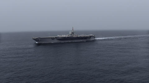 Nimitz-Class Aircraft Carrier Uss Nimitz (Cvn 68) In The Sea Animation